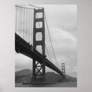 Puente Golden Gate (blanco y negro) Póster