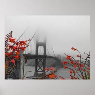 Puente Golden Gate blanco y negro Póster