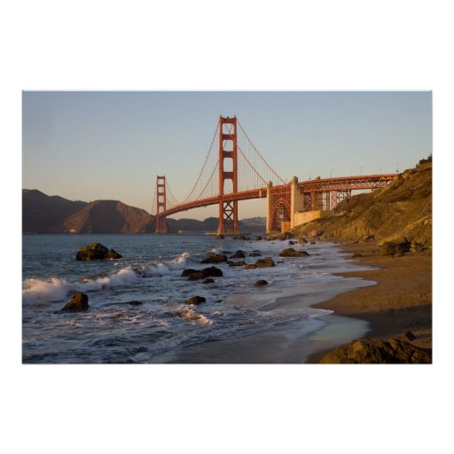 Puente Golden Gate de la playa del panadero Póster