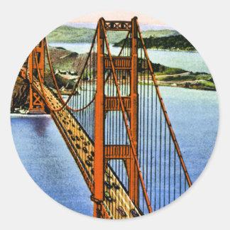 Puente Golden Gate de San Francisco Pegatina Redonda