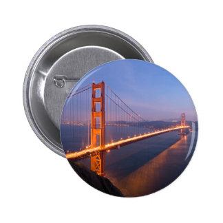 Puente Golden Gate en el botón de la puesta del so Pin Redondo De 2 Pulgadas