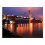 Puente Golden Gate en la noche Postal