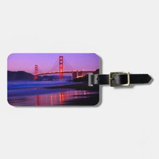 Puente Golden Gate en la playa del panadero en el  Etiqueta Para Equipaje