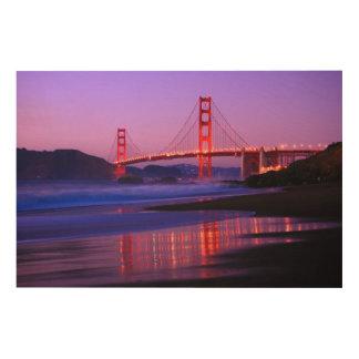 Puente Golden Gate en la playa del panadero en el Impresión En Madera