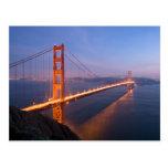 Puente Golden Gate en la postal de la puesta del
