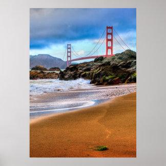 Puente Golden Gate en la puesta del sol Póster