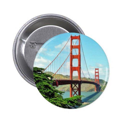Puente Golden Gate en San Francisco Pin Redondo De 2 Pulgadas