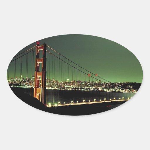 Puente Golden Gate en verde Pegatina Ovalada