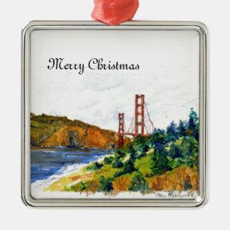 Puente Golden Gate hermoso Adorno Cuadrado Plateado