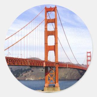 Puente Golden Gate Etiqueta Redonda
