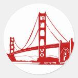 Puente Golden Gate - San Francisco, CA Etiqueta Redonda