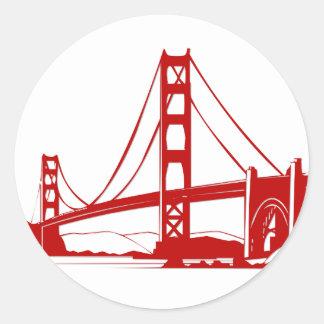Puente Golden Gate - San Francisco CA Etiqueta Redonda