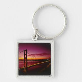 Puente Golden Gate, San Francisco, California, 5 Llavero Cuadrado Plateado