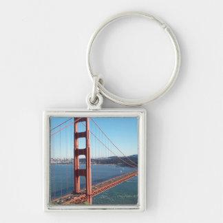 Puente Golden Gate, San Francisco Llavero Cuadrado Plateado