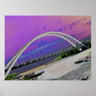 Puente hermoso de la serpiente sobre el río de Hum Posters