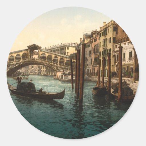 Puente I, Venecia, Italia de Rialto Pegatina Redonda