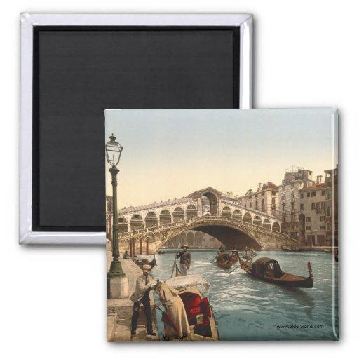 Puente II, Venecia, Italia de Rialto Imán Cuadrado