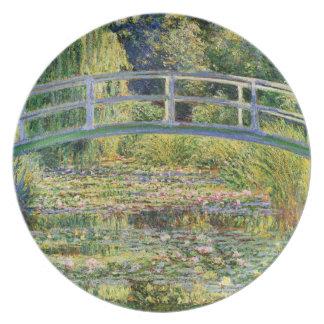 Puente japonés de Monet con la placa de los lirios Plato De Cena