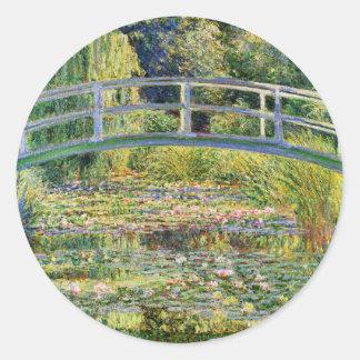 Puente japonés de Monet con los pegatinas de los Etiqueta Redonda