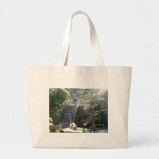 Puente japonés del jardín de té bolsa tela grande