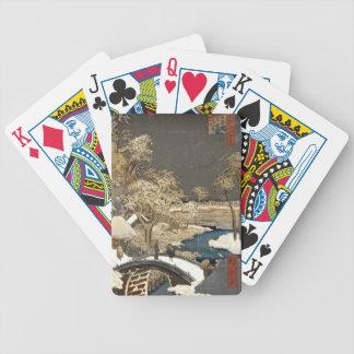 Puente japonés en la nieve cartas de juego