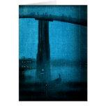 Puente japonés en la noche 2 tarjetas