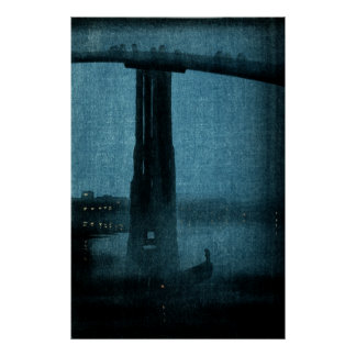 Puente japonés en la noche no 1 posters