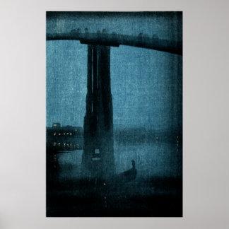 Puente japonés en la noche no.1 póster