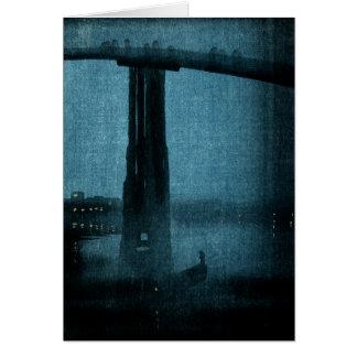 Puente japonés en la noche no.1 tarjeta de felicitación
