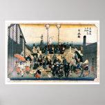 Puente japonés viejo Ukiyo-e Posters