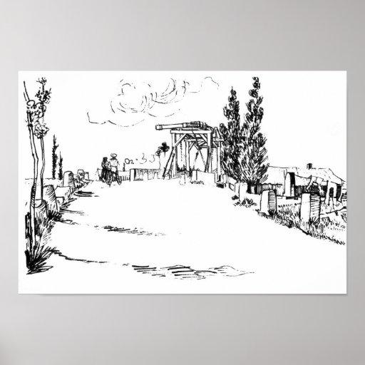 Puente levadizo de Vincent van Gogh en el dibujo d Poster