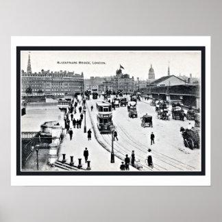 Puente Londres Inglaterra de Blackfriars del vinta Póster