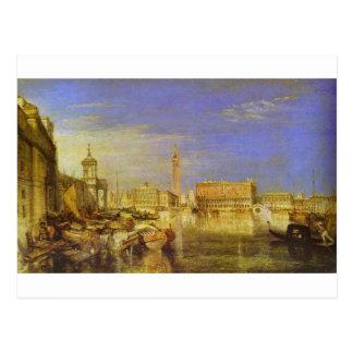 Puente los suspiros, el palacio ducal y aduanas, tarjeta postal