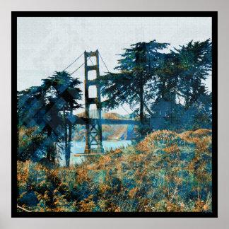 Puente mágico Blue_orange de la puesta del sol Póster