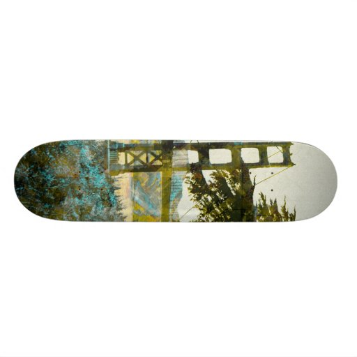 Puente mágico de la puesta del sol yellow_cyan patin personalizado