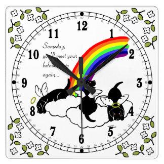 Puente negro del arco iris de los ángeles de Labra Reloj Cuadrado