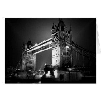 Puente negro y blanco de BW de Londres de la torre Felicitación