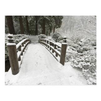 Puente nevado de la luna, jardín japonés postales
