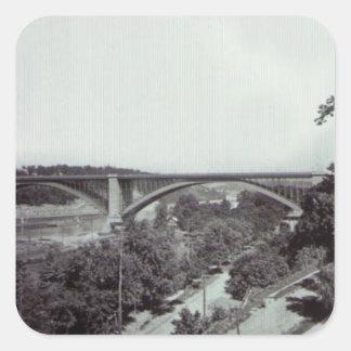 Puente New York City de Washington Pegatina Cuadrada
