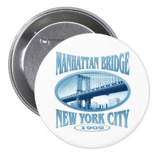 Puente Nueva York de Manhattan Pin Redondo De 3 Pulgadas