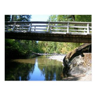 Puente peatonal sobre las aguas tranquilas tarjetas postales