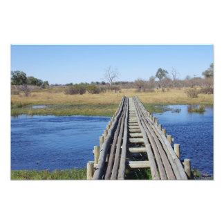 Puente que atraviesa un canal de agua de Savute Fotografias
