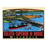 Puente retro del manganeso de Duluth de la etiquet Postales
