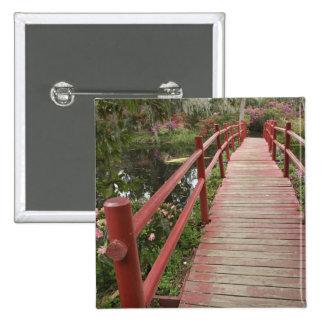 Puente rojo sobre la charca, plantación de la magn pin cuadrada 5 cm
