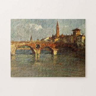 Puente romano antiguo de Italia Verona del vintage Rompecabeza Con Fotos