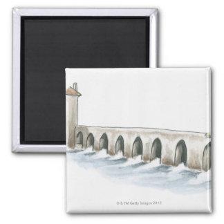 Puente romano viejo imán cuadrado