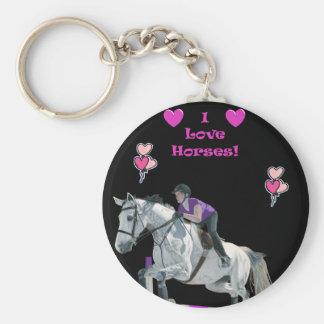 Puente rosado y púrpura del caballo llavero personalizado
