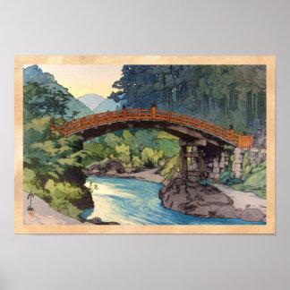 Puente sagrado en arte del hanga de Nikko Hiroshi Impresiones