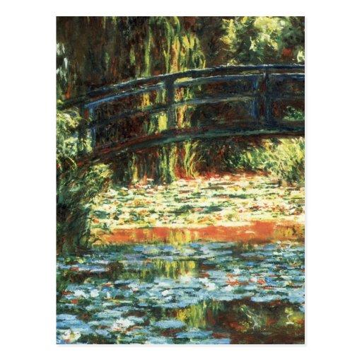 Puente sobre la charca del lirio de agua de Claude Tarjeta Postal