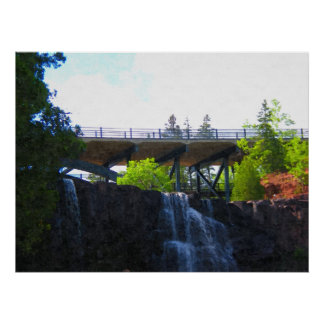 Puente sobre la impresión de la Caída-Pintura de l Poster